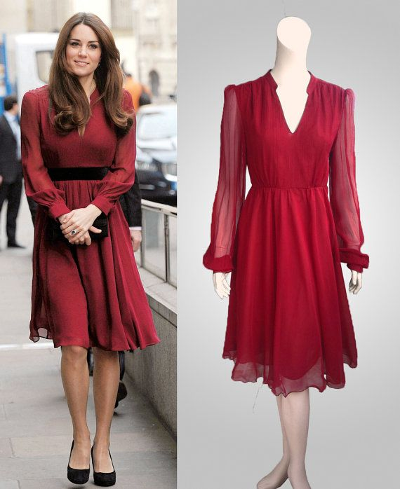 1373f08d207 Burgundy crepe silk V-neck dress inspired by Duchess Kate Middleton  189