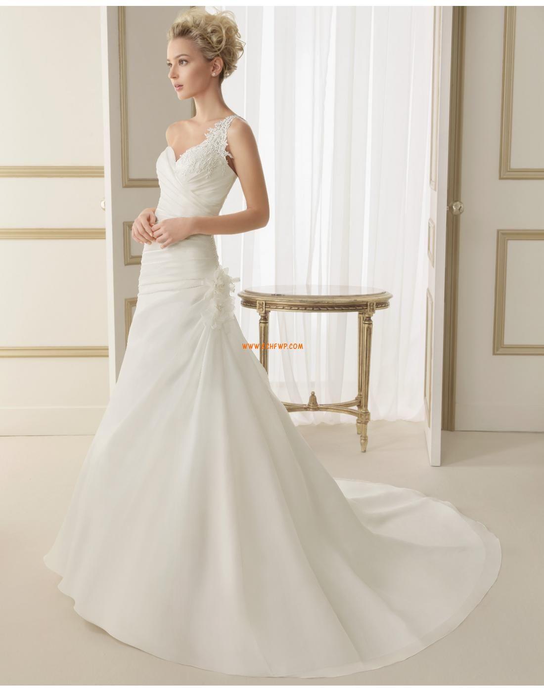 Satin 3/4 Arm Natürlich Vintage Brautkleider | Guenstige ...