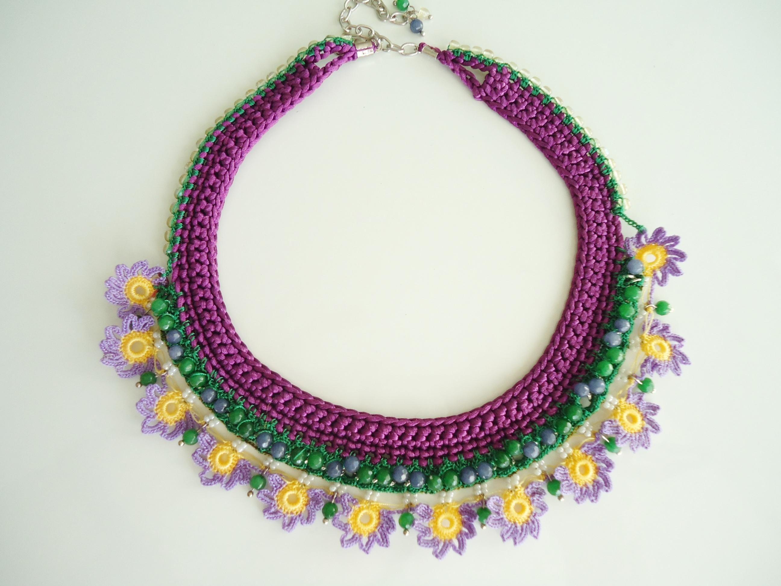 Tığ İşi Mor Otantik Kolye... Inspiration necklace..would make a ...