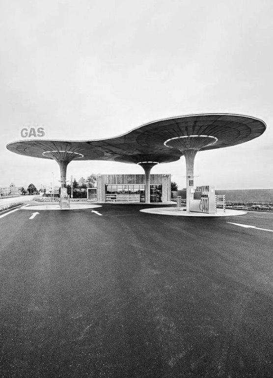 Flying saucer of gas station