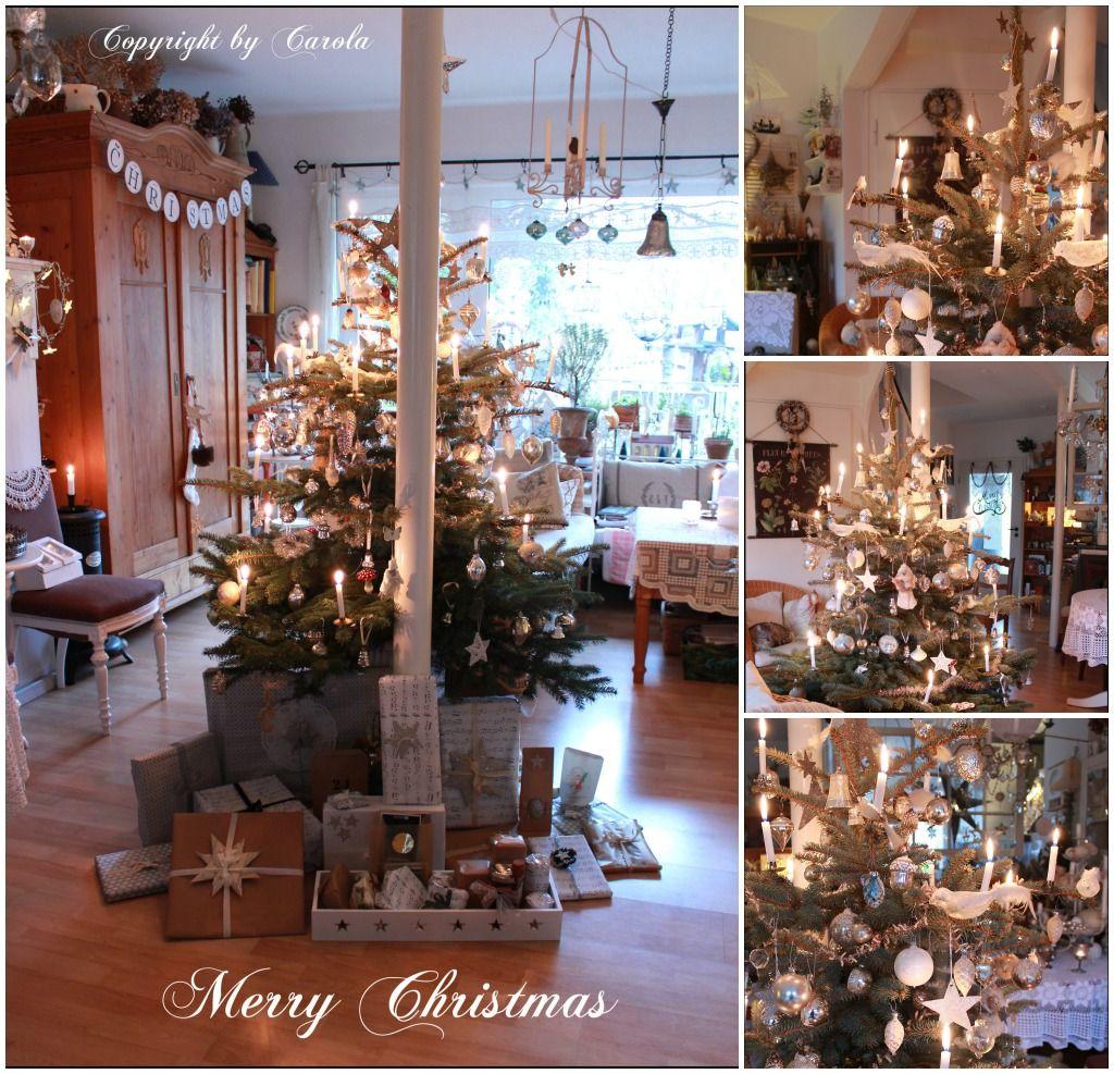 Traditional German Christmas Tree. Real Candles