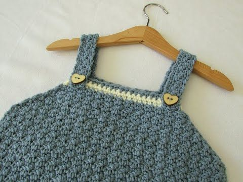 ec819830d How to crochet a textured pinafore dress - any size - YouTube