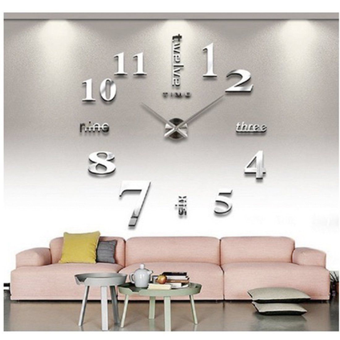 Yosoo Fashion Acrylic Modern Large Diy Wall Clock 3d Wall Clock Kit Decoration Home For Living Room Bedroom Silvery Walmart Com In 2020 Diy Clock Wall Easy Diy Room Decor Wall
