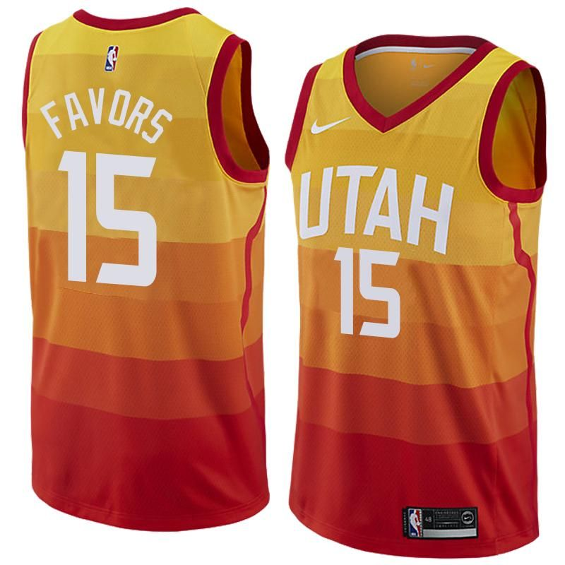 newest e3a9e 640f5 Men 15 Derrick Favors Jersey City edition Yellow Orange Utah ...