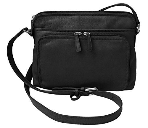 0ac9a9ef0f7ea CTM Womens Leather Shoulder Bag Purse with Side Organizer Black     Click  image for more details.