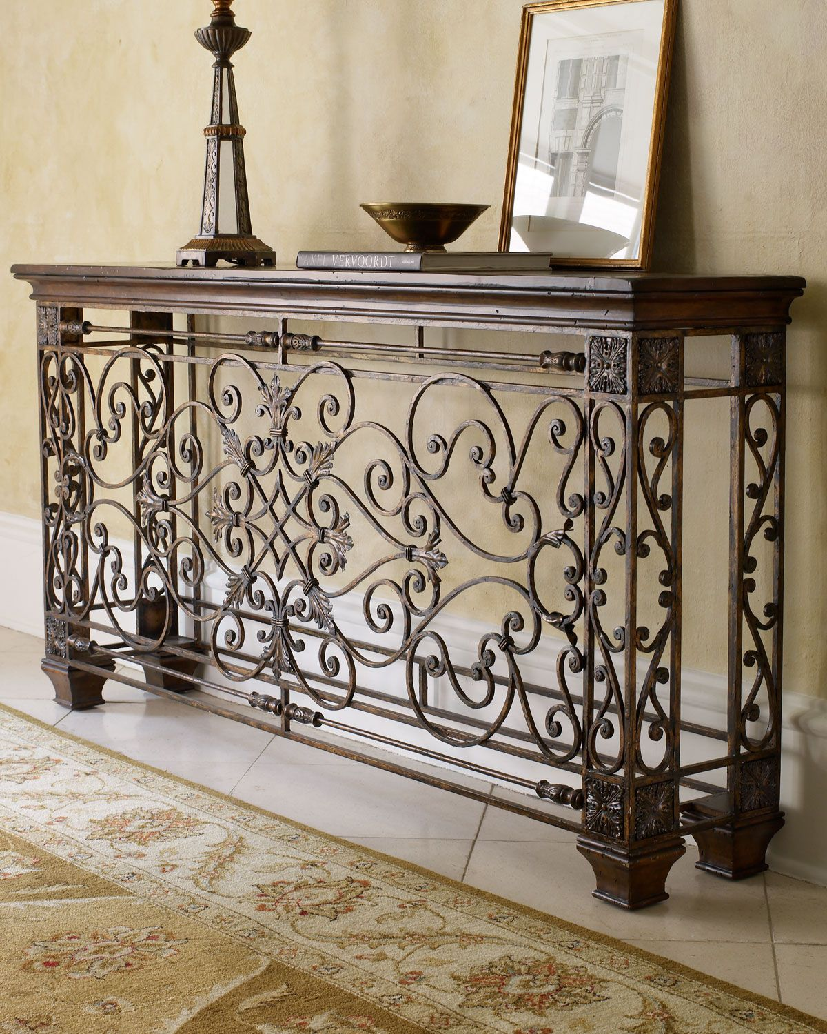 Ambella Wrought Iron Console With Images Wrought Iron Decor