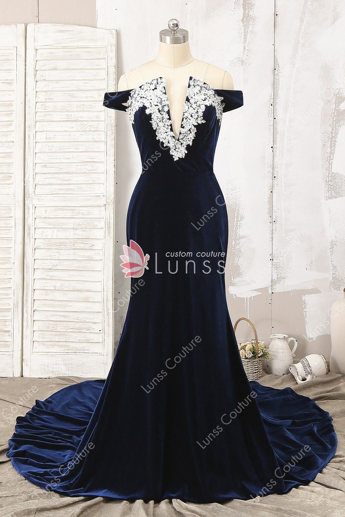 e34d54c3d4fdab This elegant custom silky velvet navy blue prom dress features  off-the-shoulder bodice with bead lace appliques adorned around the deep V  neckline