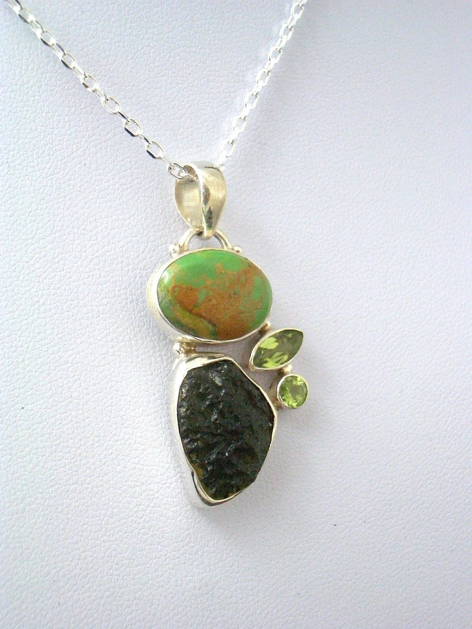 Genuine CZECH MOLDAVITE Tektite, Green Turquoise and Peridot