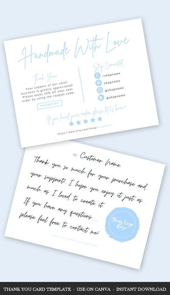 Thank You Card Template Canva Pastel Business Card Template Etsy In 2021 Small Business Cards Thank You Card Template Business Card Template