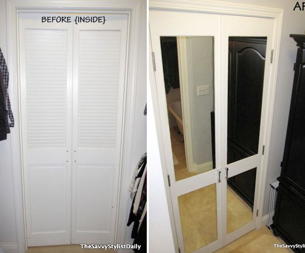 Check Out This Diy Mirrored Closet Door Makeover Remodelaholic Bifold Doors Makeover Mirror Closet Doors Closet Door Makeover