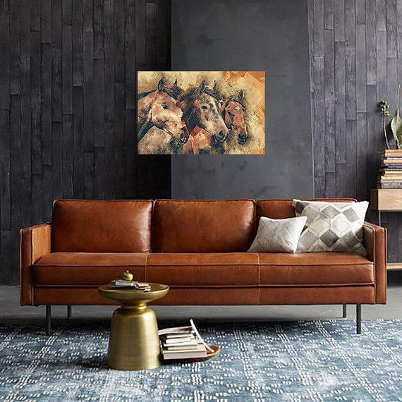 Our Favorite Ways To Decorate With A Brown Sofa: Horse Wall Art, Horses, Horse Head, Three Horses, Horse