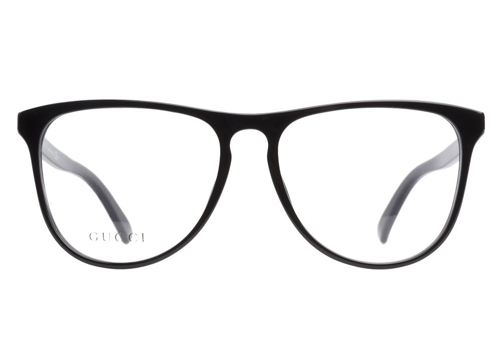 fa3cb3f289 Gucci GG3518 807 Black eyeglasses are casual and trendy. This aviator  inspired frame has a lustrous black finish with a classic keyhole bridge  and large ...