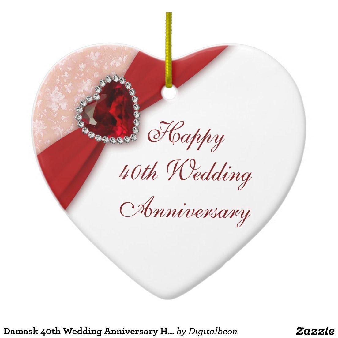Decoration ideas for 40th wedding anniversary  Damask th Wedding Anniversary Heart Ornament  Damask th Wedding