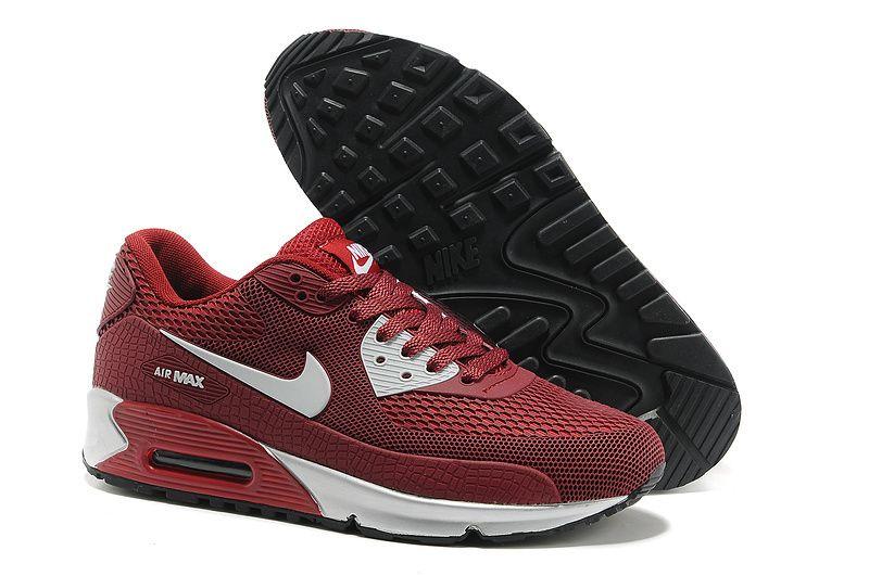 Barato Mulheres Air Max 90 Hyperfuse Preto Vermelho Branco Nike