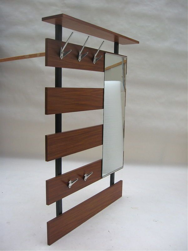Architectural Wall Mount Coat Rack Mirror Danish Modern