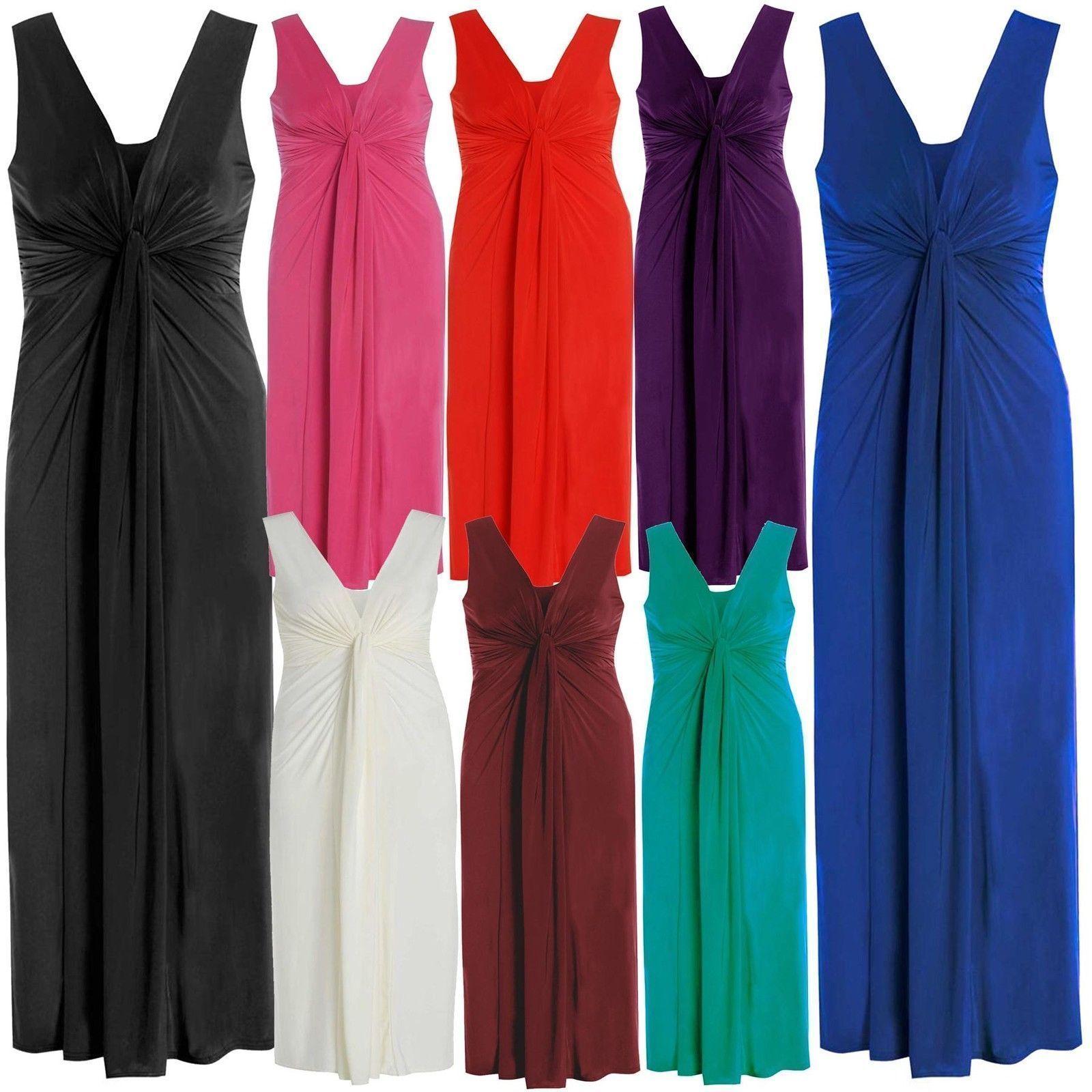 Womens twist knot panel grecian boob ladies long evening maxi dress