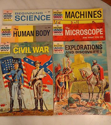 6 Vintage How and Why Wonder Books 1960-61 Childrens Science Civil War etc
