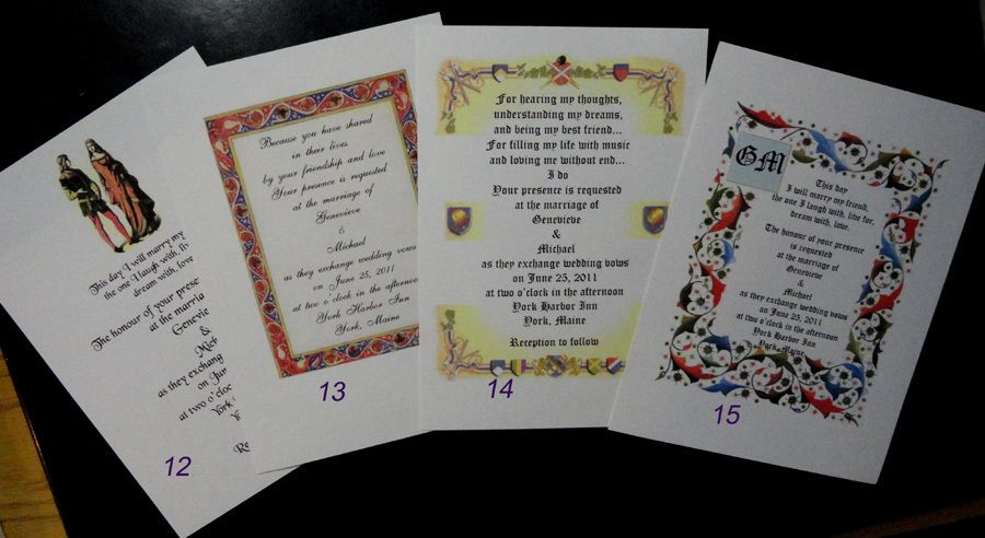 50 Medieval Renaissance Invitations Many Designs Customized Personalized for You | eBay