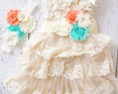 Flower Girl Dress - Lace Flower girl dress -Baby Lace Dress -Mint Flower girl dress - Country Flower Girl -Lace Dress - Rustic -  Bridesmaid