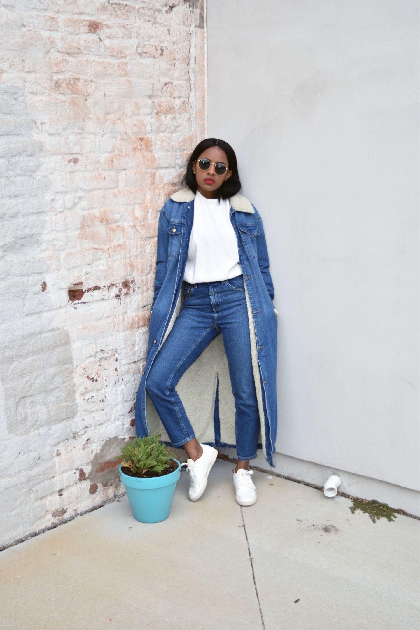 Canadian Tuxedo/ Denim on Denim   Zara Denim Sherpa Longline Jacket - Asos Farleigh Jeans - Reebok Club C 85 Vintage Sneakers