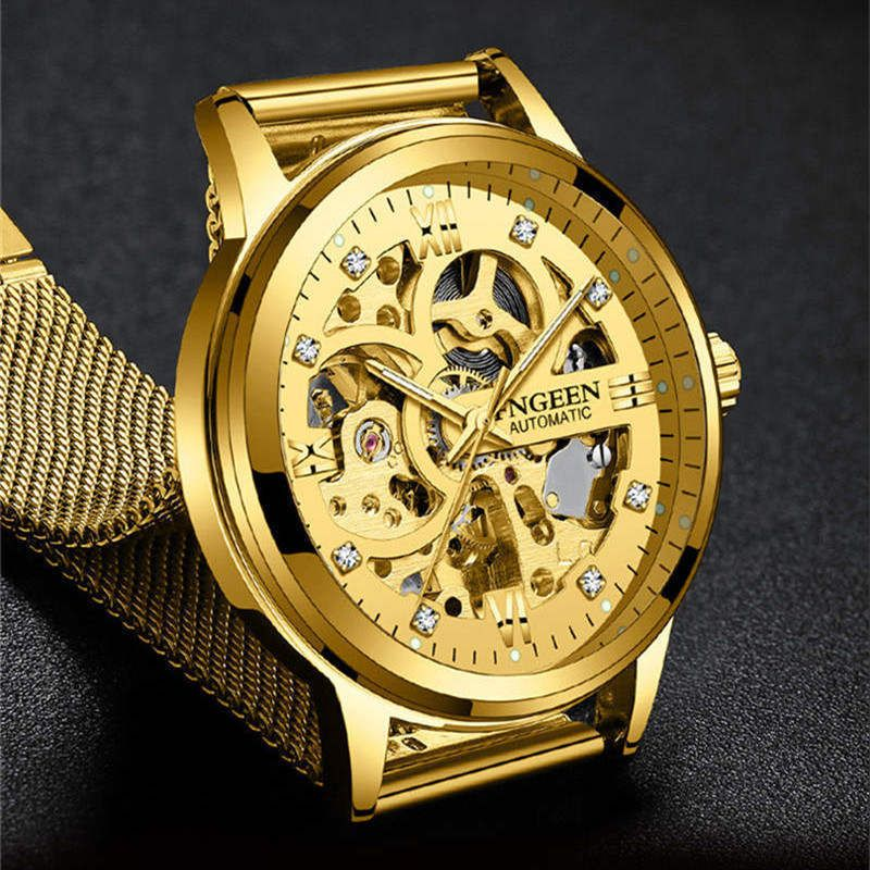 6e6d5441566 FNGEEN Watch Men Skeleton Automatic Mechanical Watch Gold Skeleton Vintage  Man Watch Men Watch Top Brand Luxury Waterproof Clock