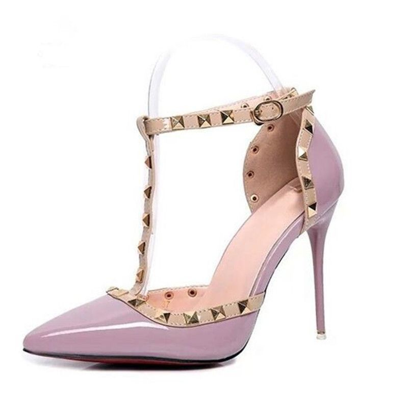 435a5dcf4640 2016 Pumps Summer style fashion female sandals rivet Metal decoration pu  leather South Korean style women high heels JY06-in Women s Pumps from Shoes  on ...