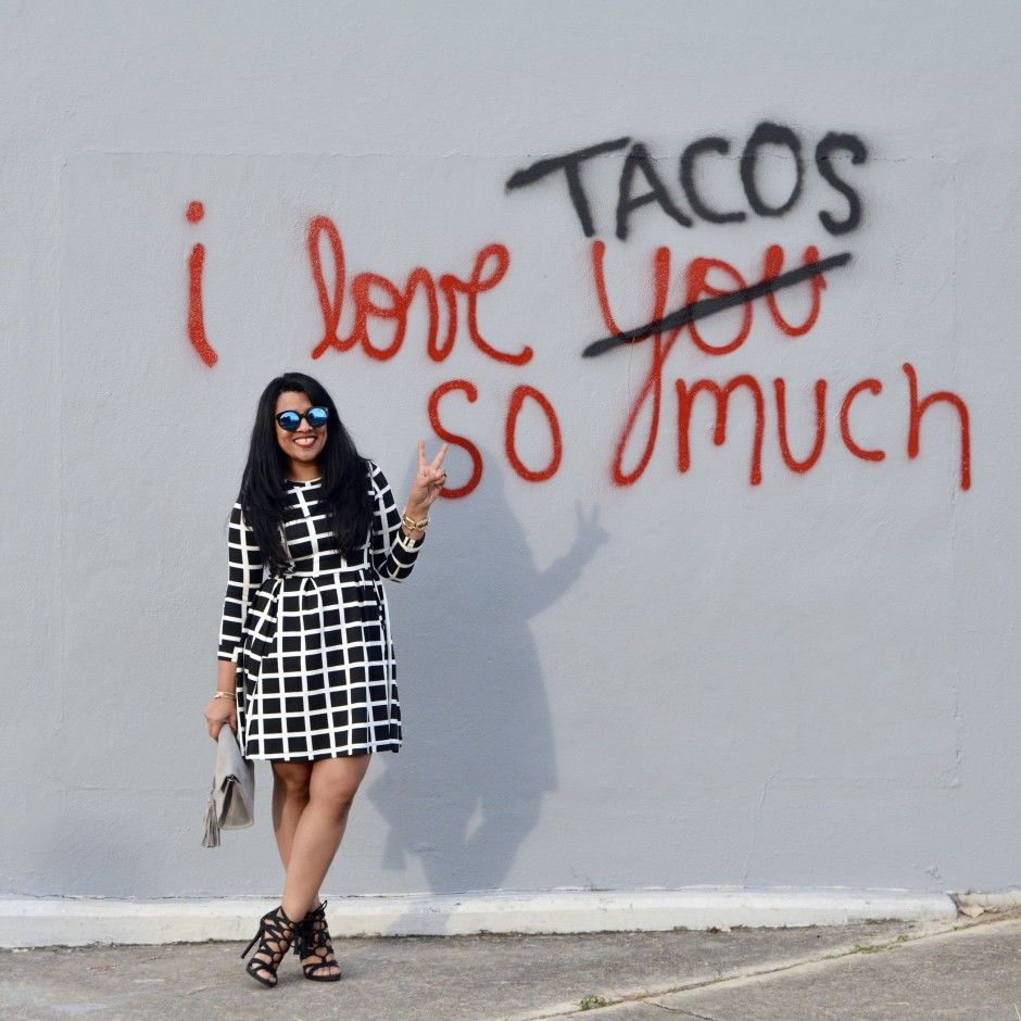 How we do black & white in fall/winter in San Antonio and how we feel about tacos always!