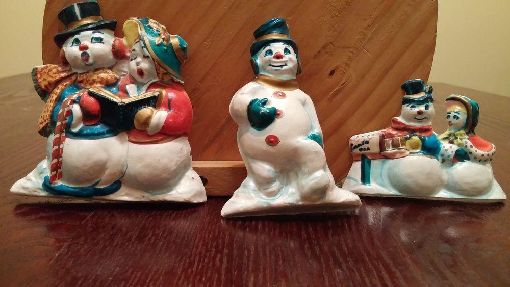 Vintage Plastic 3 D Christmas Decorations Lights Snowmen Mixed Lot