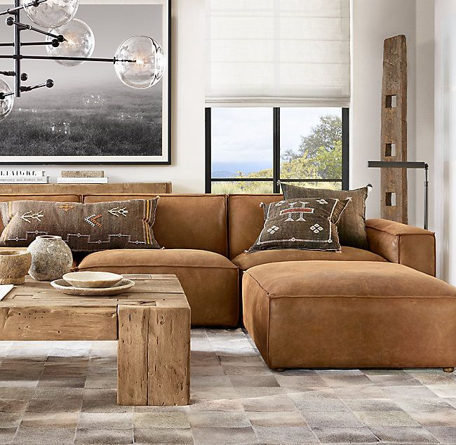 Living Room Furniture Configurations: Como Modular Leather End-Of-Sectional Ottoman