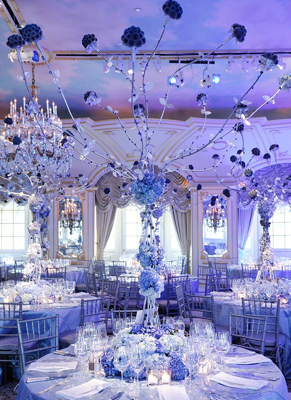 Winter Wonderland Wedding Reception Decor With High Fl Topiaries And Blue Lighting Description From Pinterest