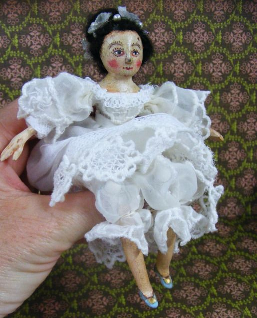 Queen Anne Doll Miniature with Vintage Antique Look.