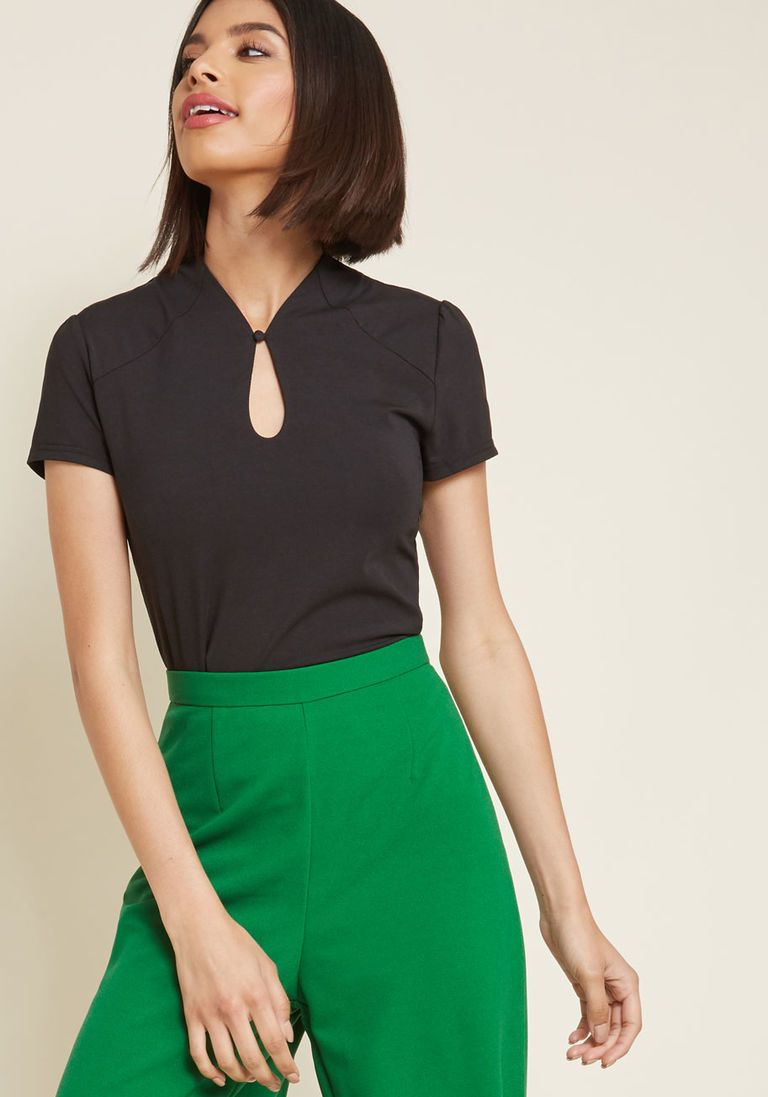 427c0165d2 High Society Style Knit Top in Noir in 4X - Short Sleeve Fitted Waist by  ModCloth