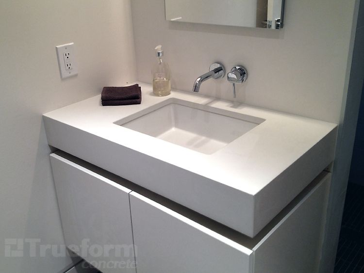 white concrete vanity top with undermount sink concrete