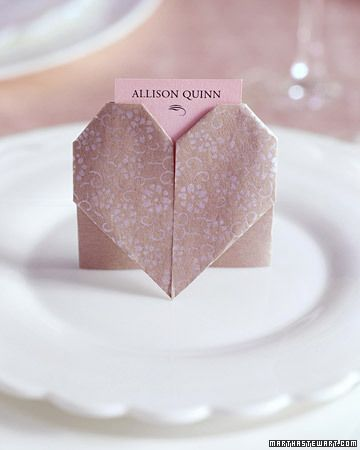 Pink Bridal Shower Ideas And Decorations We Love Heart Shape Wedding Origami Heart Wedding Place Cards
