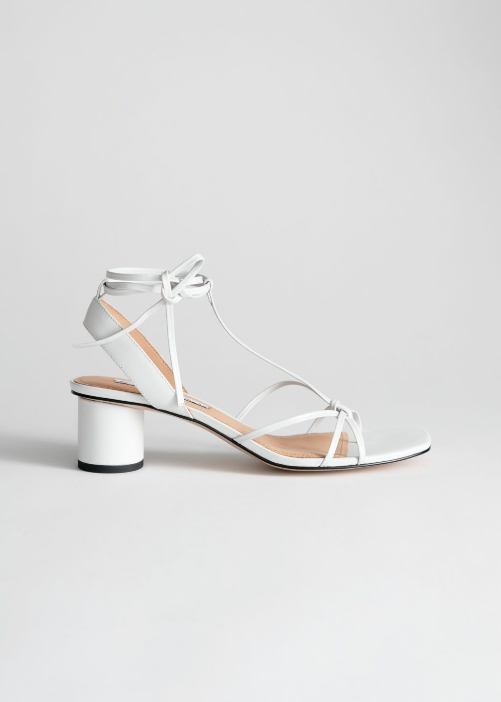 70dcdc196eb39 Square Toe Lace Up Heeled Sandals - White - Heeled sandals - & Other Stories