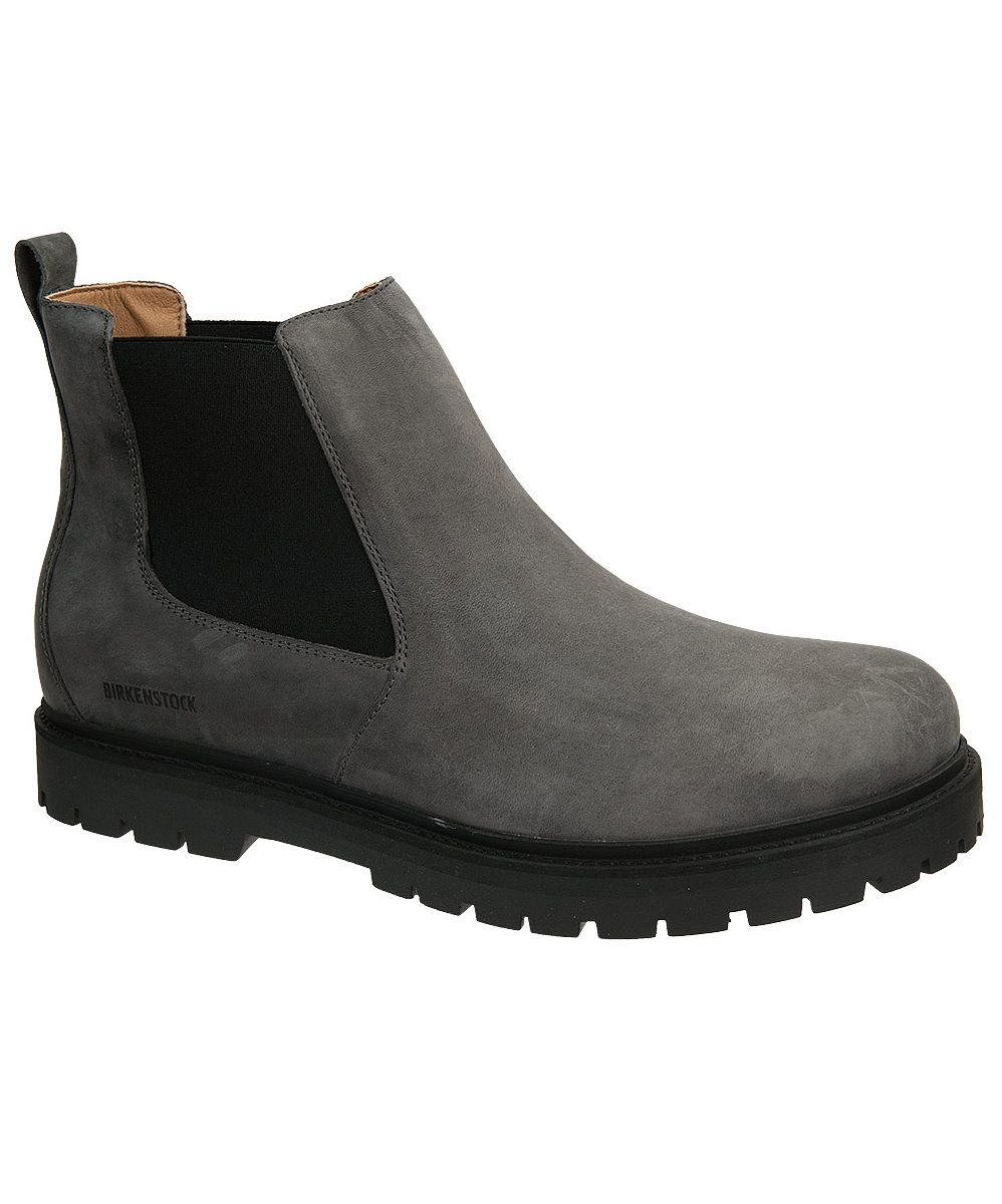 dd2ecbad33d Birkenstock Stalon Boot for Men. Grey Graphite Nubuck. Lug Sole for Rugged  Terrain. Slip-On Chelsea Boot. Removable Cork Footbed.
