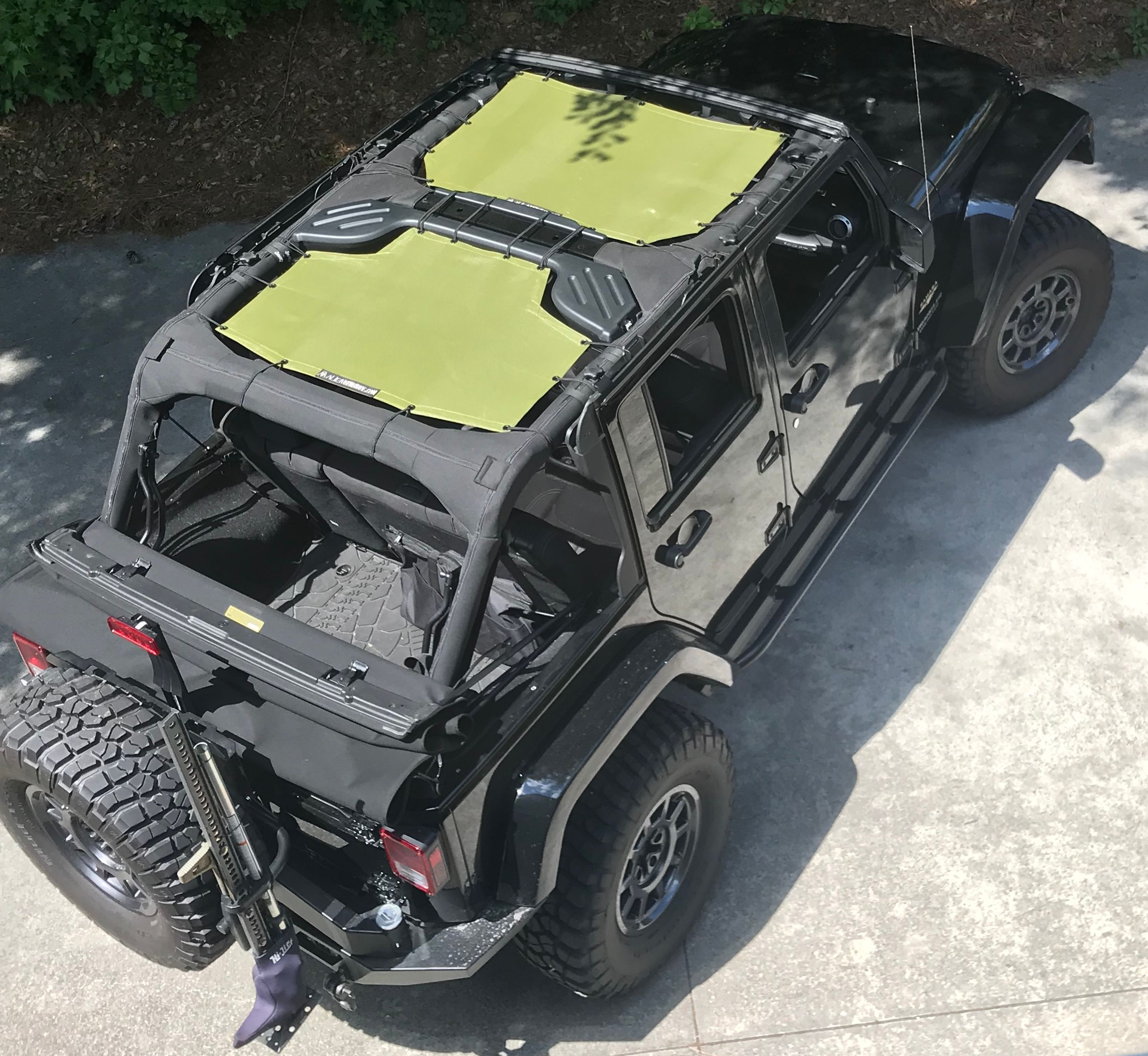 13fe67ec7ed Mesh · Shades · Jeep Jl · Green · Cover · 2 piece front and rear combo Alien  Sunshade shown in Tank Green on a Black 4