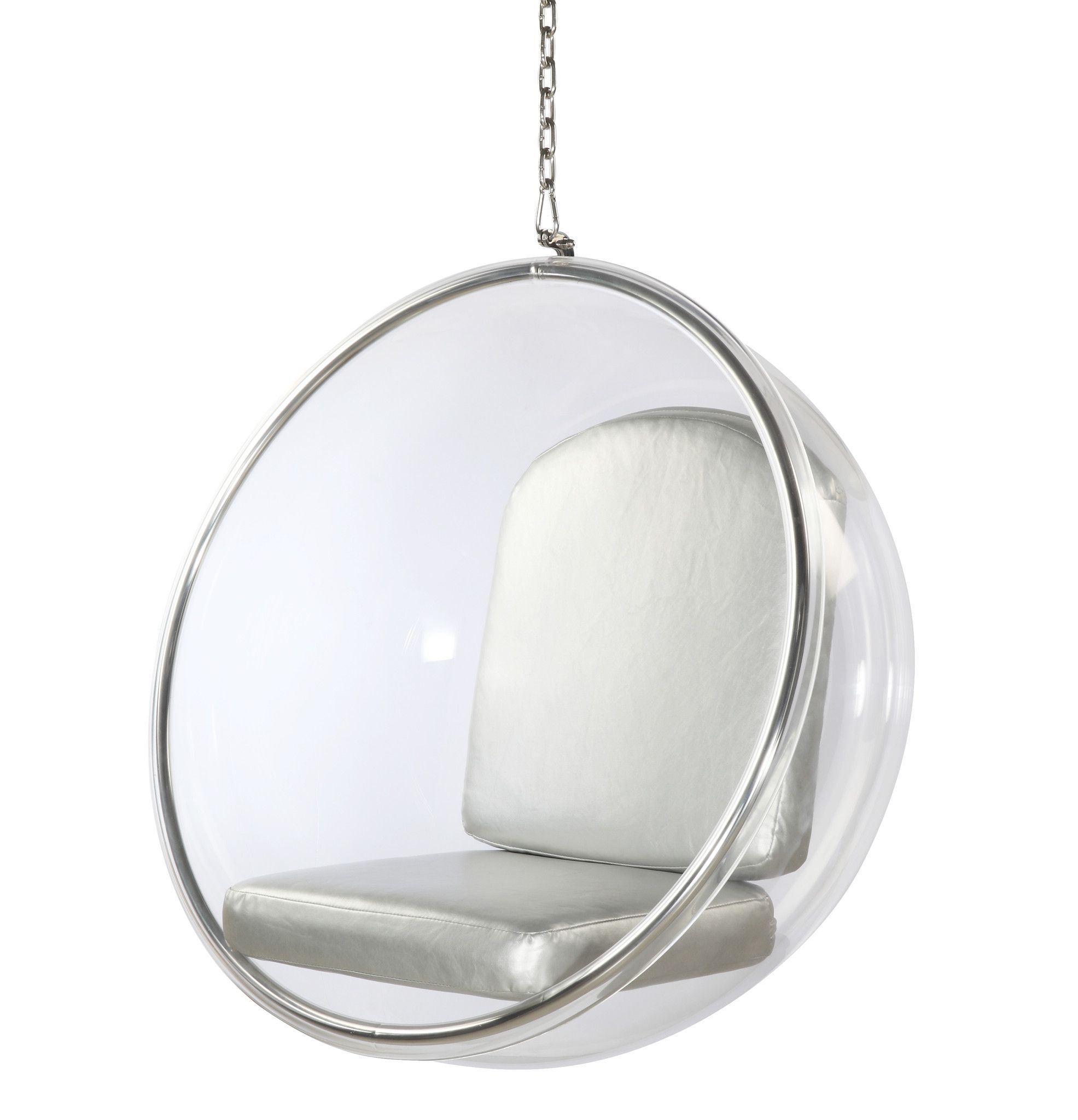 Hanging Chair Clear Bean Bag Beans Eero Saarinen Bubble Style Silver