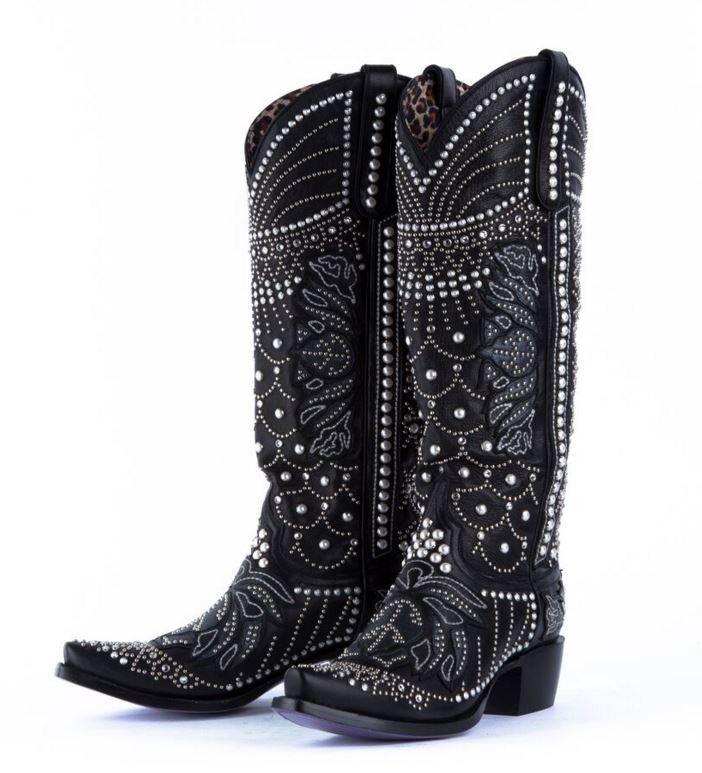 Victoria Pearl Black Swarovski Crystal Boots. Woah ...