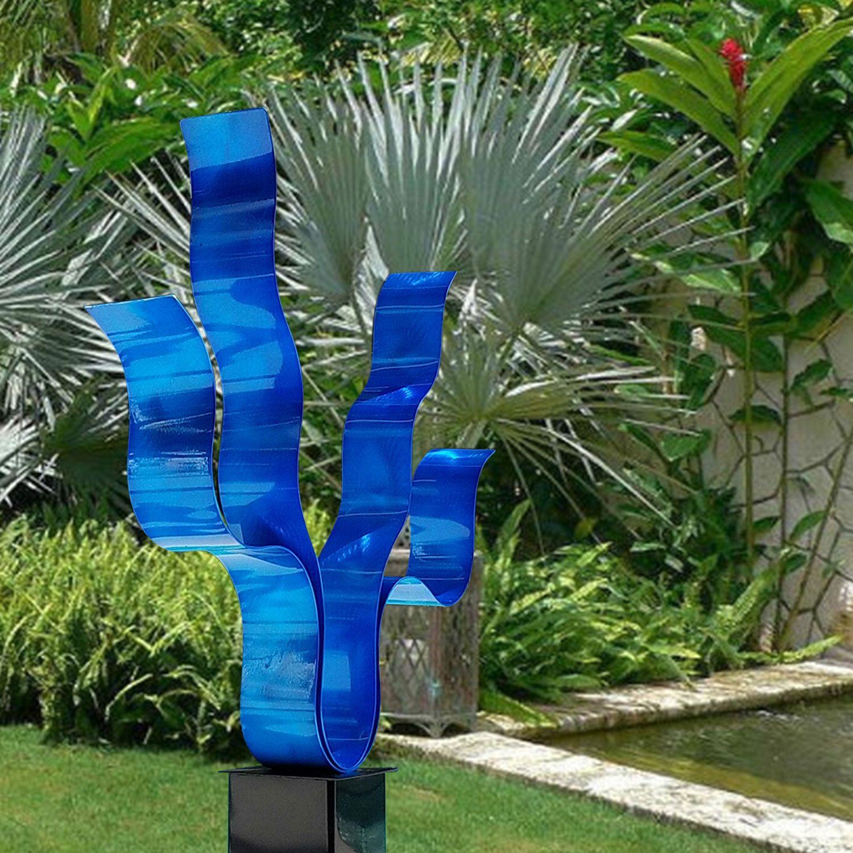 Reaching out blue | beautiful gardens | hand made | modern art | modern | modern architechture | Sculptures | #architechture #metalart https://www.statements2000.com/