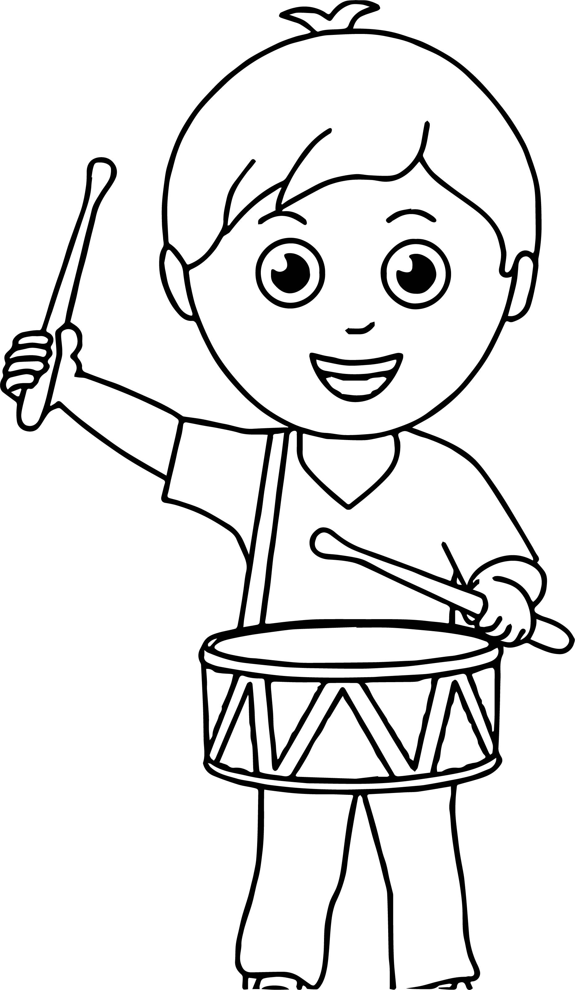 Nice Boy Band Drum Coloring Page