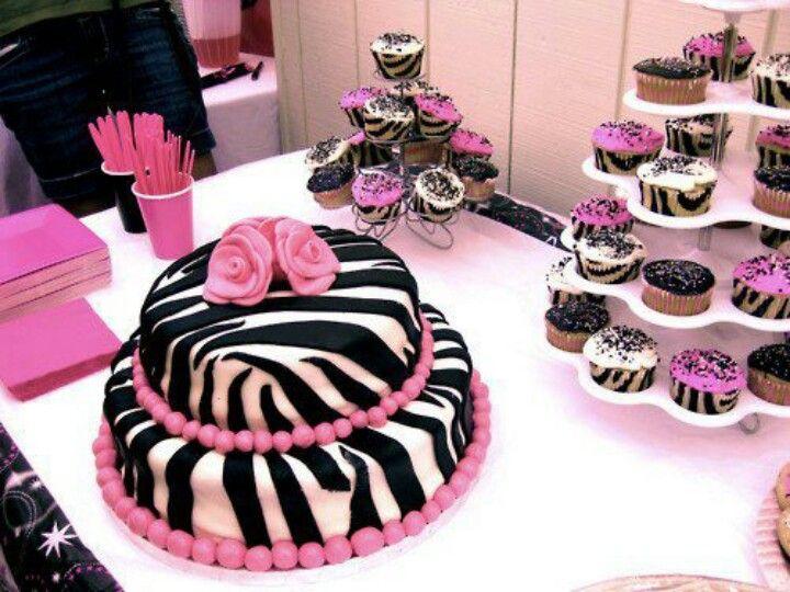 Zebra pink cupcakes cake