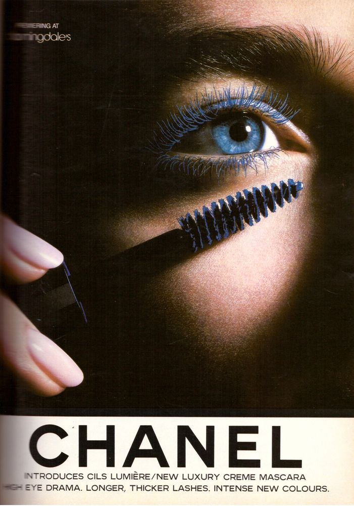 1987 CHANEL COSMETICS Mascara Makeup Magazine PRINT ADVERTISEMENT AD VINTAGE 80s | eBay