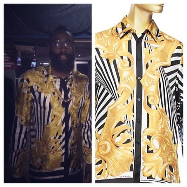 e94b69ef288603 Versace Barocco Shirt | ... hard wearing a $1325 Versace 'Digital Barocco  Print' silk shirt