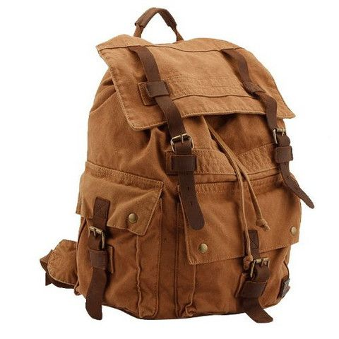 Unisex Warm Brown Canvas Hiking Backpack with Leather Accent Straps & Large Pockets