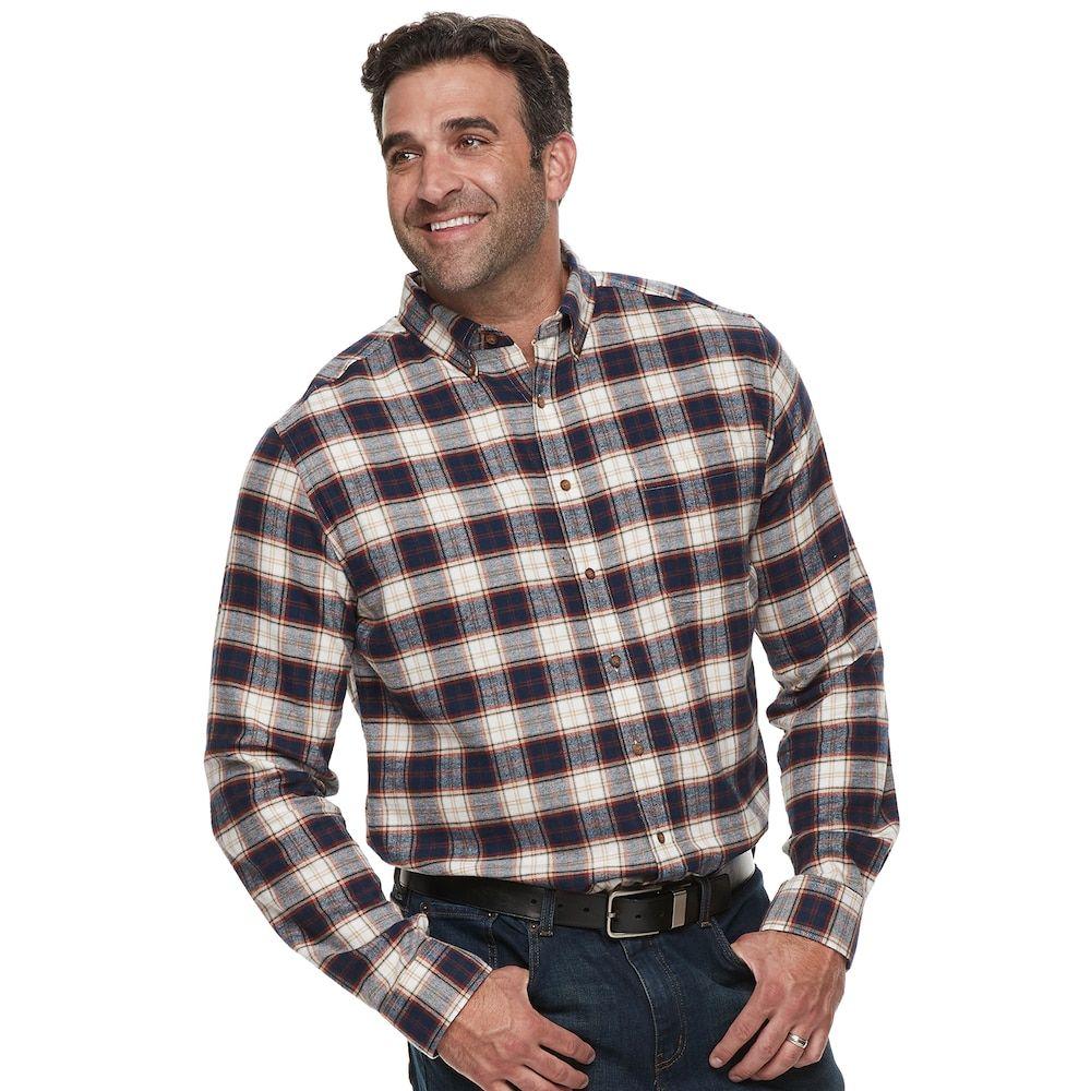 Big flannel outfits  Big u Tall Croft u BarrowRegularFit Flannel Woven ButtonDown