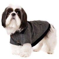Elegant Grey Herringbone Dog Coat