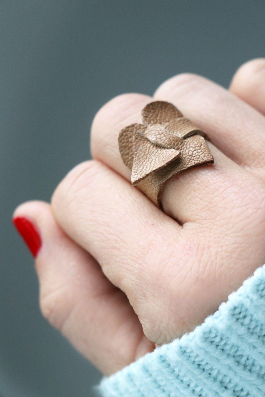 Wrap Around Leder Herz Ring Around Leder Leder