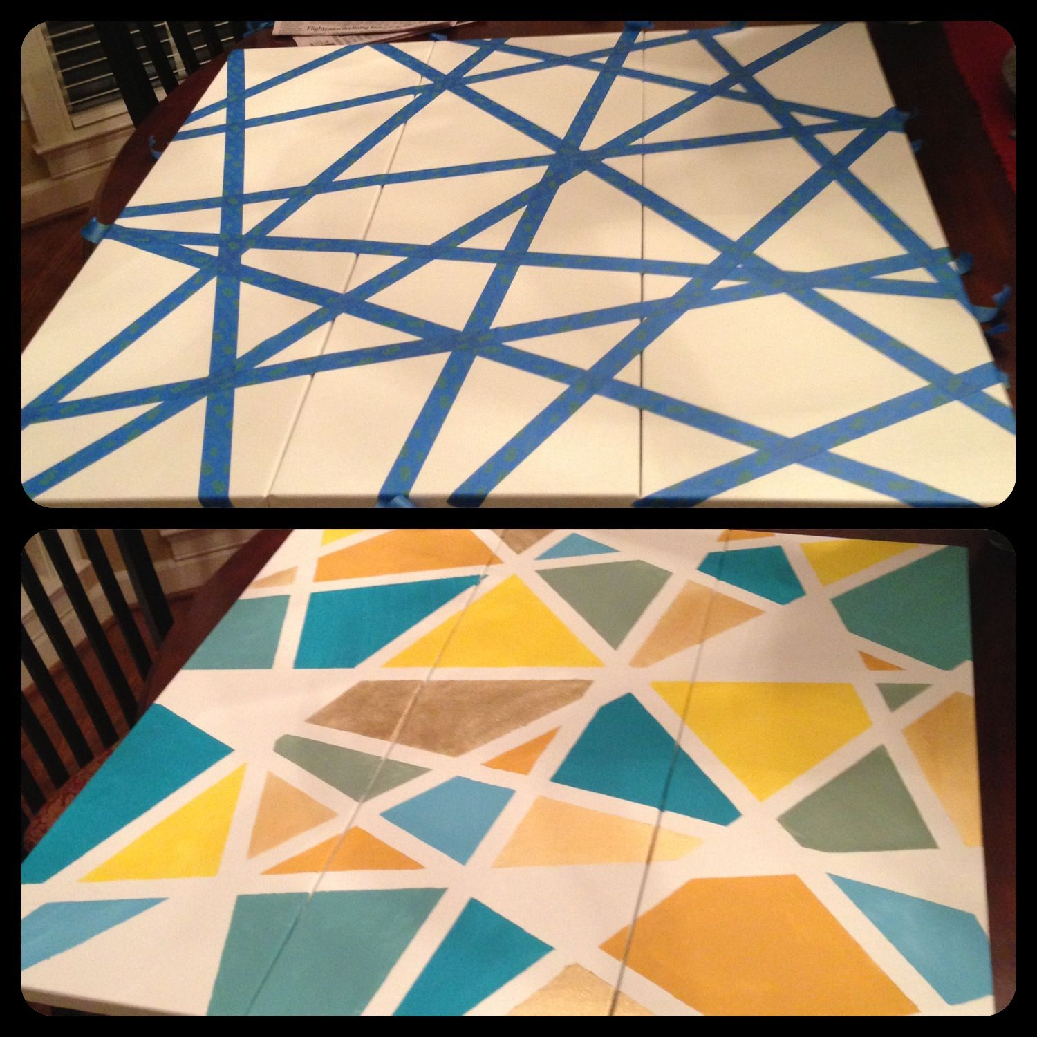 Diy Modern Mosaic Painting Super Simple Use Painter S Tape And Go Crazy 3 Separate Panels But Taped Them As One
