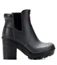 hunter  original block heel rubber chelsea boots